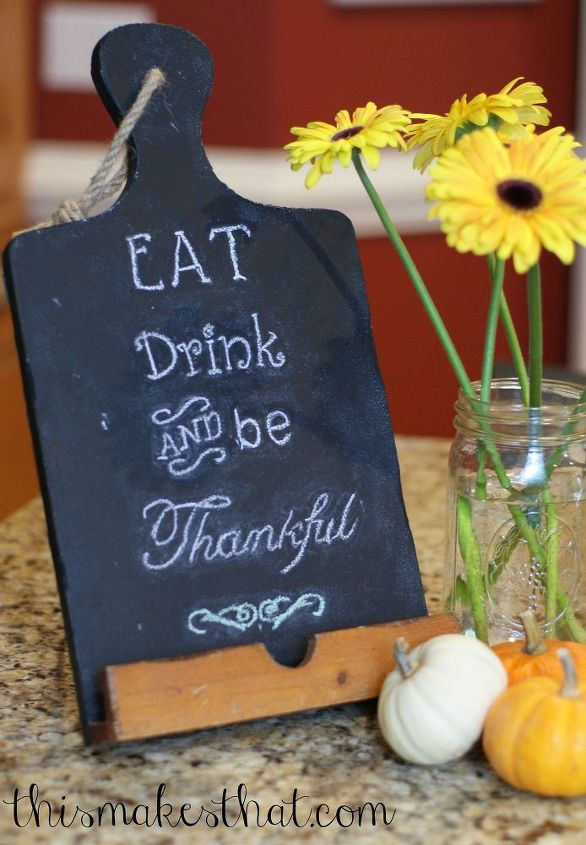 chalkboard cutting board sign