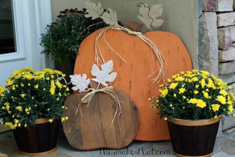 wood pumpkins porch