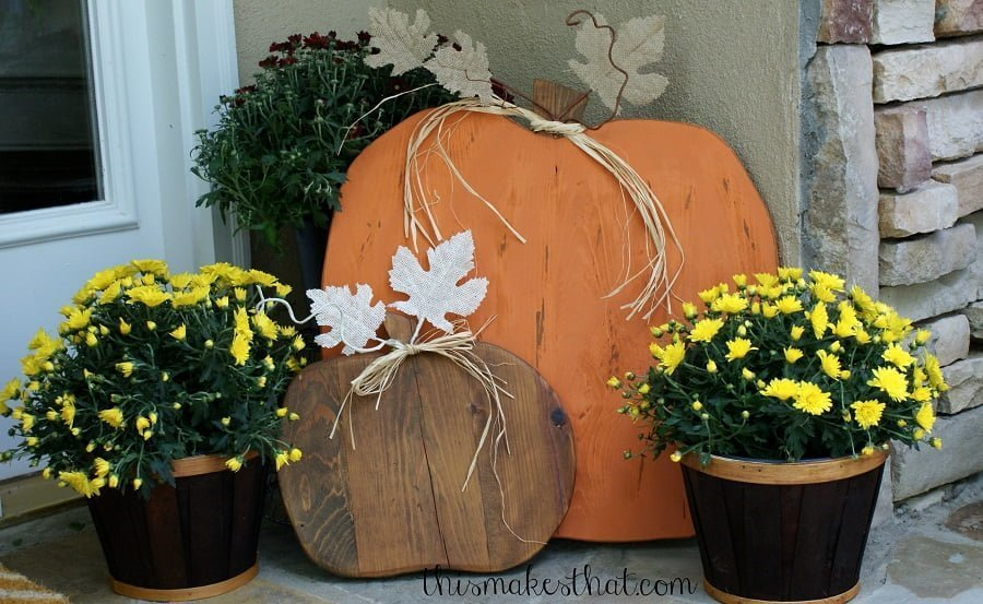 wood pumpkins porch