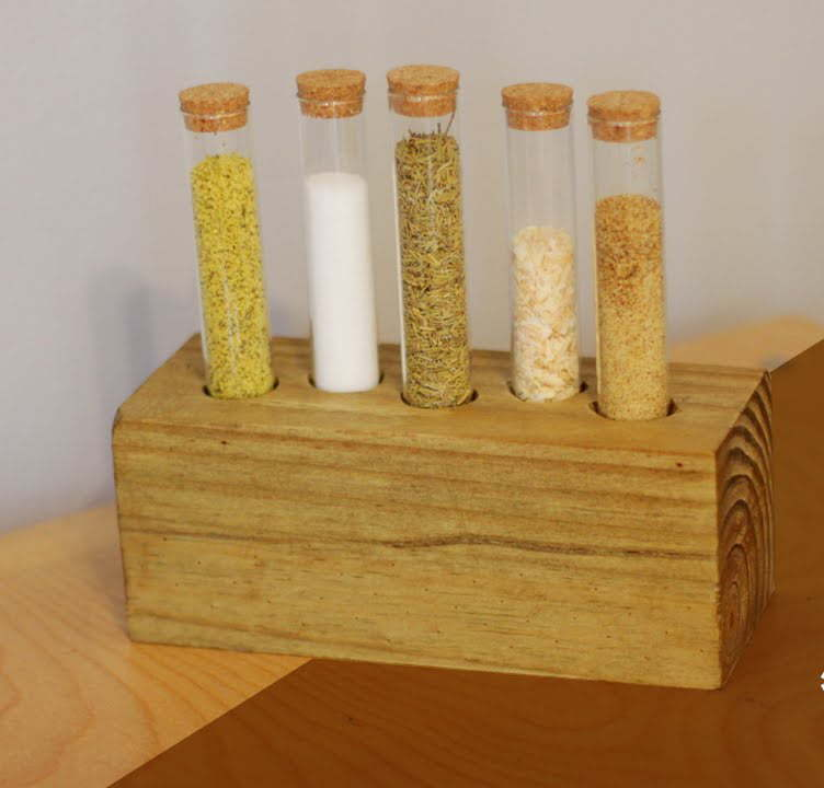 Rustic Test Tube Spice Rack